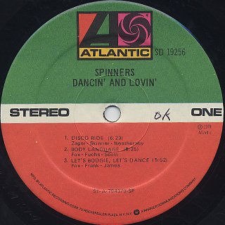 Spinners / Dancin' And Lovin' label