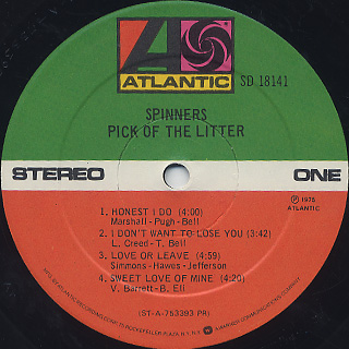 Spinners / Pick Of The Litter label