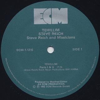 Steve Reich / Tehillim label