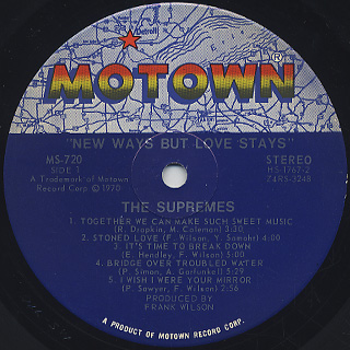 Supremes / New Ways But Love Stays label