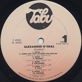 Alexander O'neal / Hearsay label