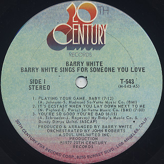 Barry White / Sings For Someone You Love label