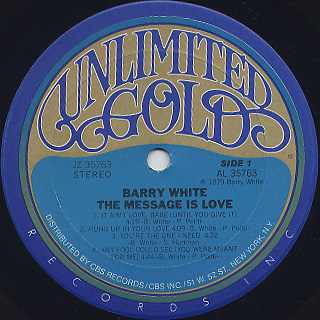 Barry White / The Message Is Love label