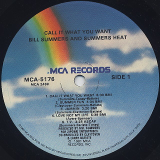 Bill Summers & Summers Heat / Call It What You Want label
