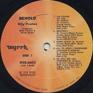 Billy Preston / Behold! label