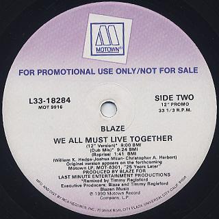 Blaze / We All Must Live Together label