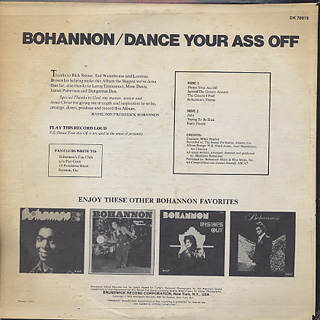 Bohannon / Dance Your Ass Off back
