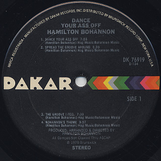 Bohannon / Dance Your Ass Off label