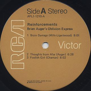 Brian Auger's Oblivion Express / Reinforcements label