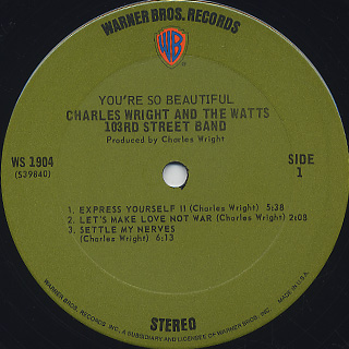 Charles Wright and The Watts 103rd Street Band / You're So Beautiful label