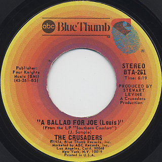 Crusaders / Stomp And Buck Dance c/w A Ballad For Joe (Louis) back