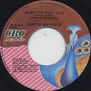 Curtis Mayfield / Baby It's You c/w Breakin' In The Street front