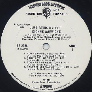 Dionne Warwicke / Just Being Myself label