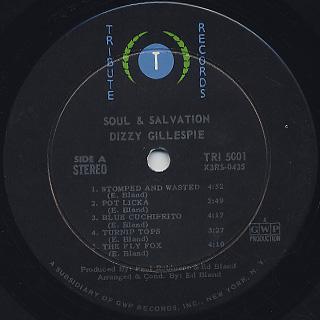Dizzy Gillespie / Soul & Salvation label