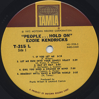 Eddie Kendricks / People... Hold On label