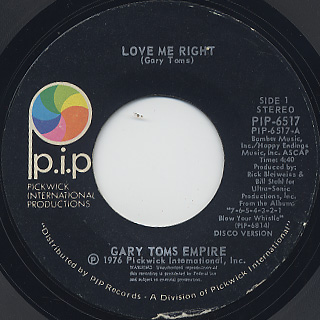 Gary Toms Empire / Love Me Right (45)