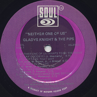 Gladys Knight & The Pips / Neither One Of Us label