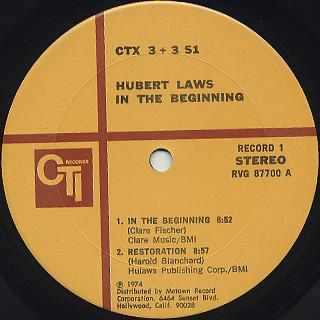 Hubert Laws / In The Beginning label