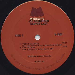 Joe Henderson / Canyon Lady label