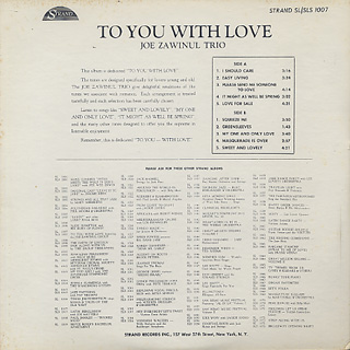 Joe Zawinul Trio / To You With Love back