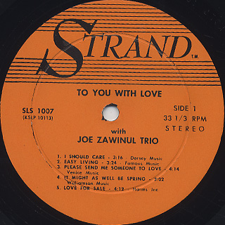 Joe Zawinul Trio / To You With Love label
