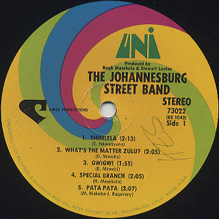Johannesburg Street Band / Dancin' Through The Streets label
