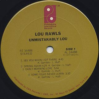 Lou Rawls / Unmistakably Lou label