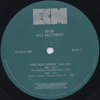 Pat Metheny / 80/81 label