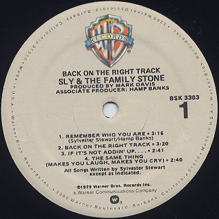 Sly and The Family Stone / Back On The Right Track label