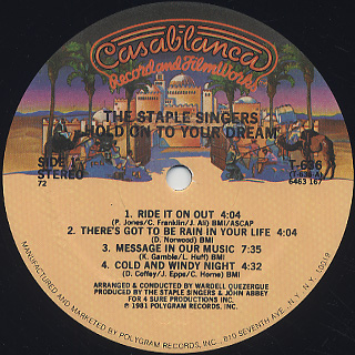 Staple Singers / Hold On To Your Dream label