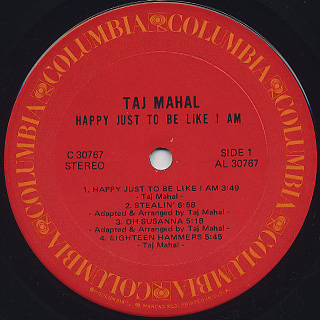 Taj Mahal / Happy Just To Be Like I Am label