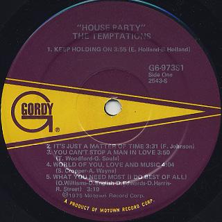 Temptations / House Party label