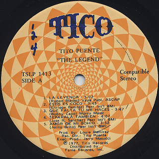 Tito Puente / The Legend label