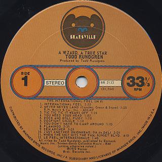 Todd Rundgren / A Wizard, A True Star label