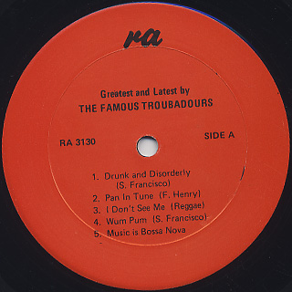 Troubadours / Drunk And Disorderly label