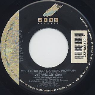 Vanessa Williams / Work To Do (45) back