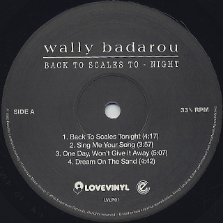 Wally Badarou / Back To Scales To-Night label