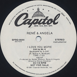 René & Angela / I Love You More back