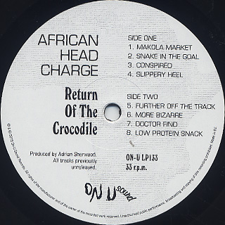African Head Charge / Return Of The Crocodile label