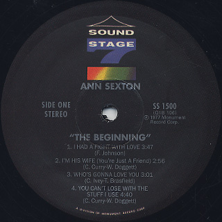 Ann Sexton / The Beginning label