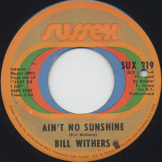 Bill Withers / Harlem c/w Ain't No Sunshine back