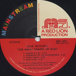 Blue Mitchell / The Many Shades Of Blue label