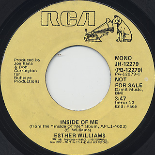 Esther Williams / Inside Of Me (45) back