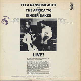 Fela Ransome Kuti & The Africa '70 with Ginger Baker / Live! (US) back