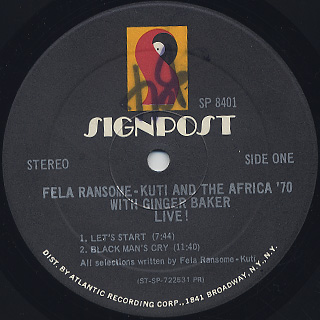 Fela Ransome Kuti & The Africa '70 with Ginger Baker / Live! (US) label