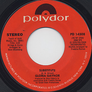 Gloria Gaynor / I Will Survive c/w Substitute back