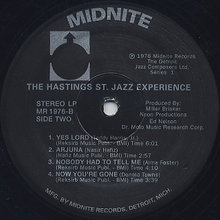 Hastings St. Jazz Experience / Detroit Jazz Composers ltd. label