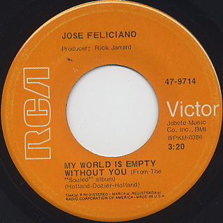 Jose Feliciano / Hey! Baby c/w My World Is Empty Without You back