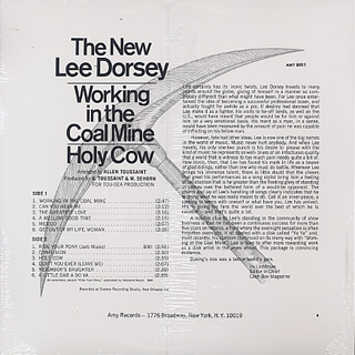 Lee Dorsey / Working In The Coal Mine Holy Cow back