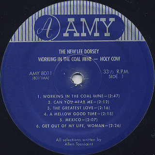 Lee Dorsey / Working In The Coal Mine Holy Cow label